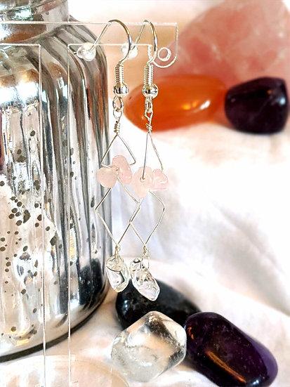 Rose & Clear Quartz Earrings