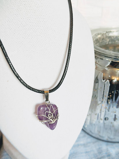 Amethyst Flower Wire Wrapped Necklace