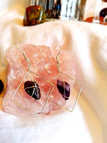 Geometric Amethyst Earrings