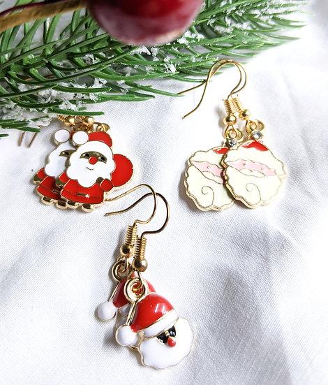 Santa Enamel Earrings