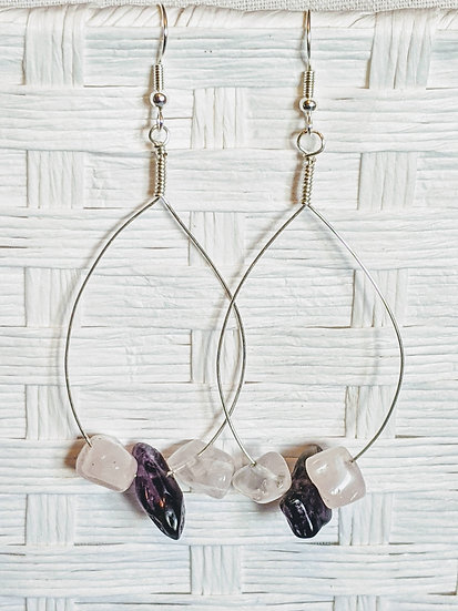 Rose Quartz and Amethyst Hoops