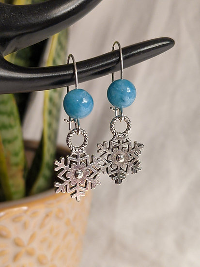 Small Amazonite snowflake earrings