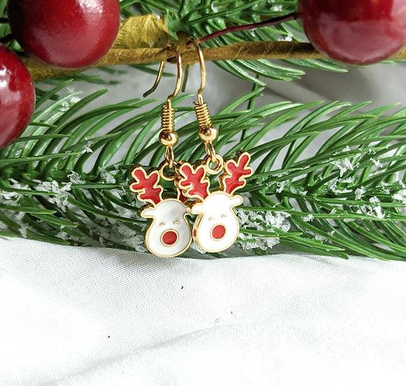 Reindeer Enamel Earrings