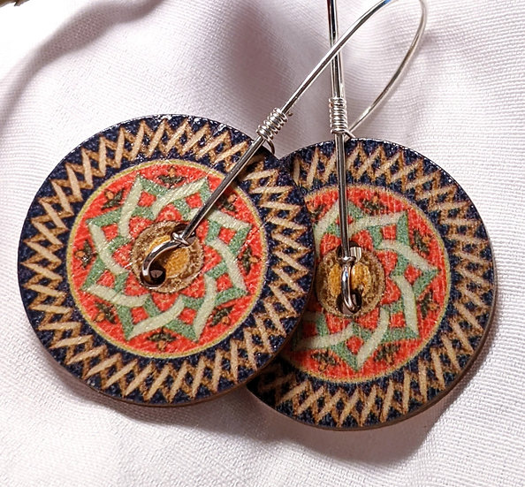 Wood Button Earrings