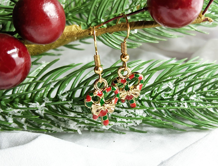 Wreath Enamel Earrings