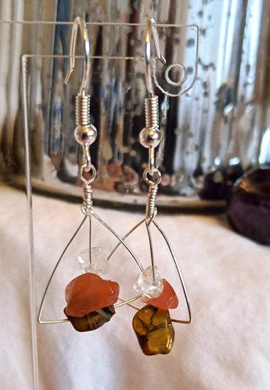 Geometric Orange Gemstone Earrings