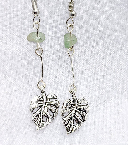 Green Aventurine Leaf Earrings