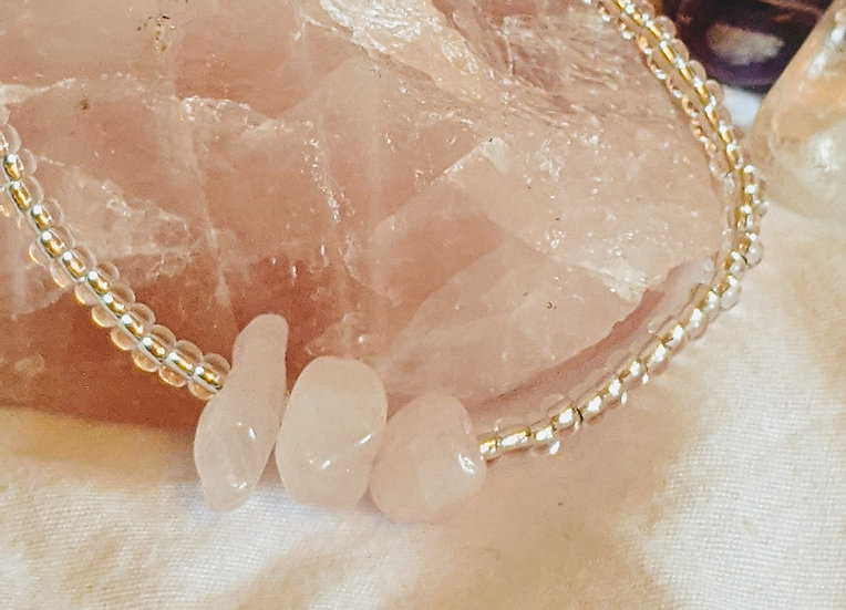Rose Quartz & Glass Bead Bracelet
