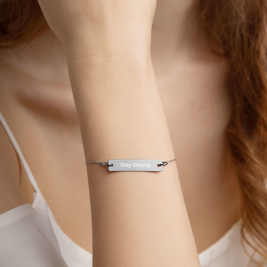 Stay Strong Engraved Silver Bar Chain Bracelet