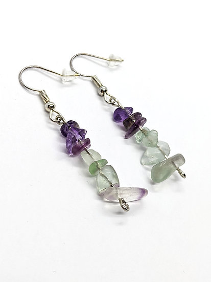 Amethyst and Green Adventurine Stacked Earrings