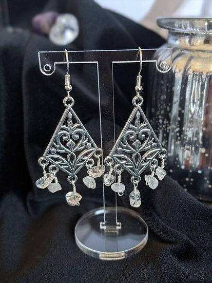 Tibetan Clear Quartz Earrings