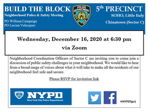Upcoming Build the Block Community Meeting on Dec 16, 2020 at 6:30pm