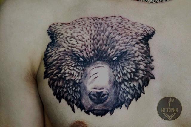 Вот такой серьезный медведь в исполнении мастера Максима😈🐻_1 сеанс💥_✍🏻Эскиз из интернета ✍🏻 Наш