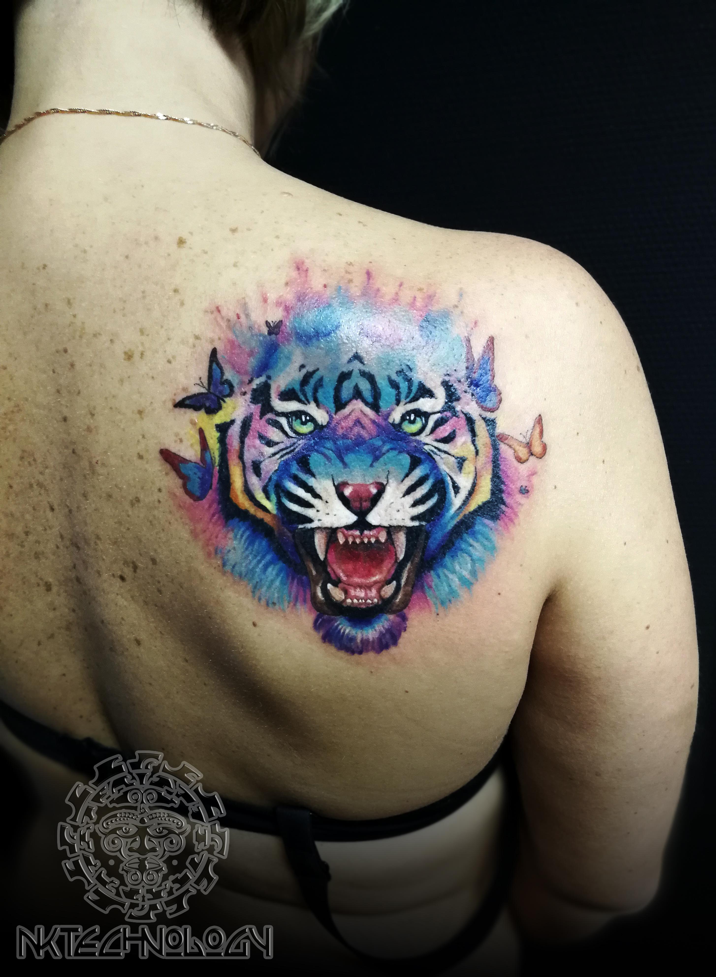 акварель тигр