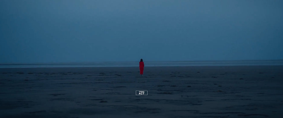 Film Still: TRIBUTARY, director, Cameron Perry. A lone figure, dressed in red, stands with their back turned to us on a desolate beach.
