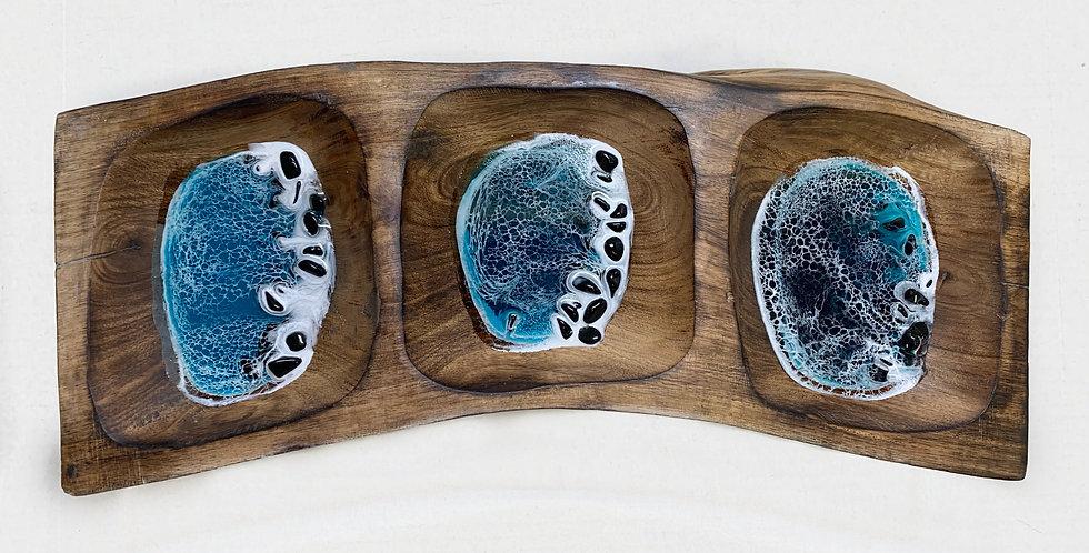Ocean 3 Bowl Wood Candy Dish