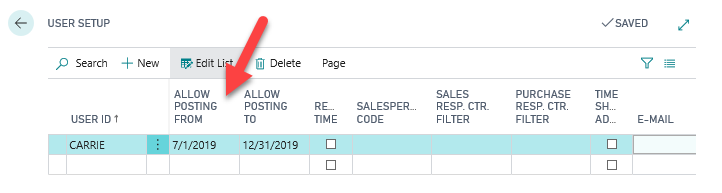 How to change user posting date ranges in Business Central