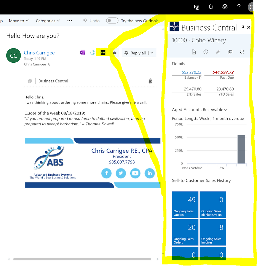 365 Outlook and Business Central contact insights