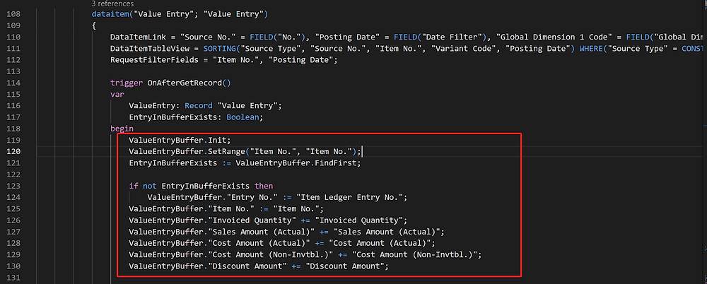 Code for value entry buffer in Business Central