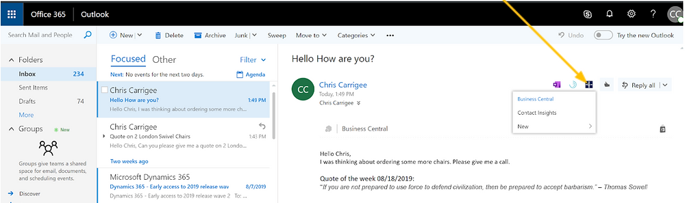 Outlook and 365 Business Central integration