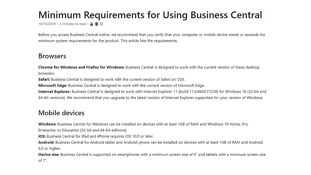 Microsoft Dynamics 365 Business Central System Requirements