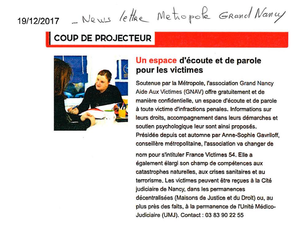 201712 - Newsletter Métropole Grand Nancy