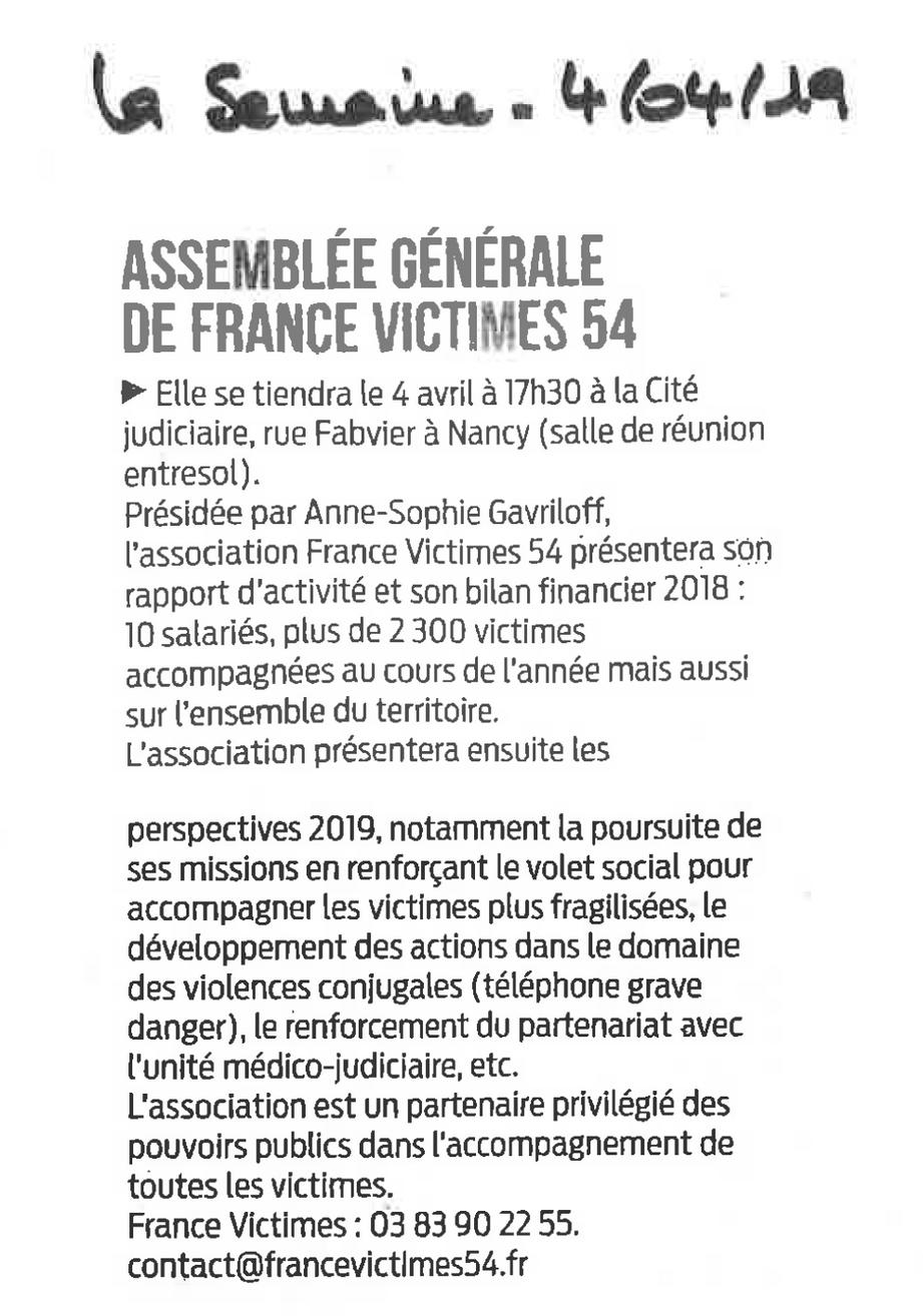 201904 - Article La Semaine