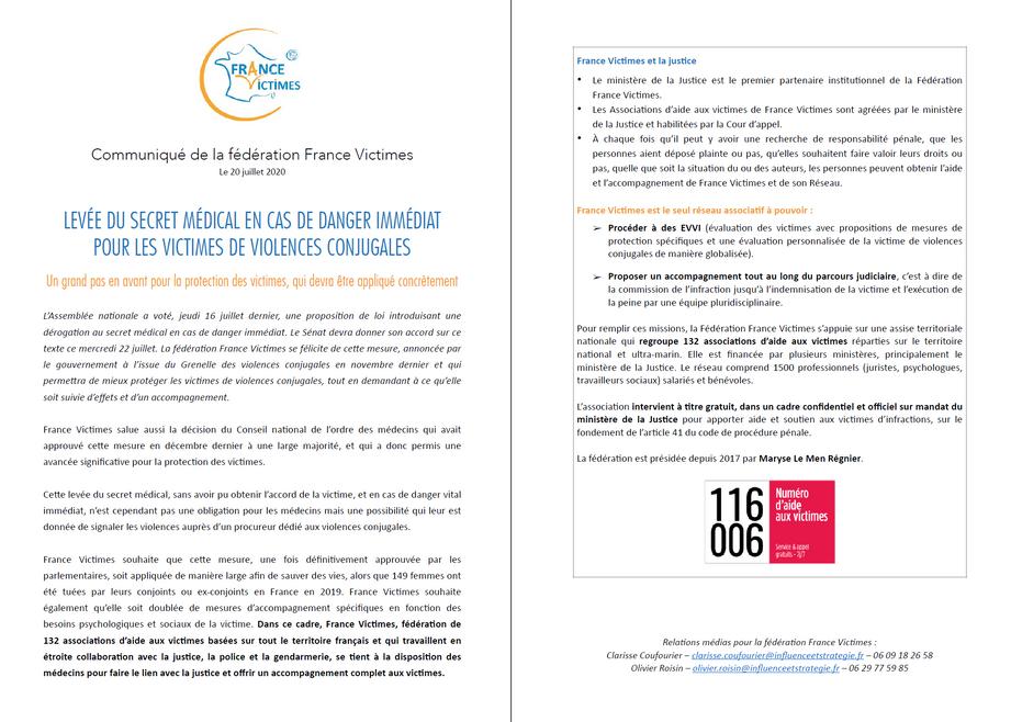 202007 - Communiqué de Presse France Victimes