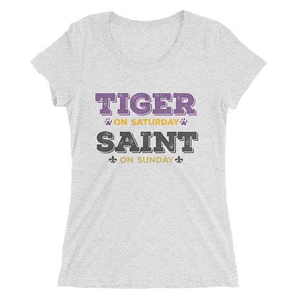 Tiger on Saturday Saint on Sunday Ladies Tee