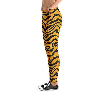 Custom Number Tiger Stripe Leggings - Adult