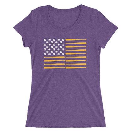 LSU Baseball - American Flag Ladies Tee