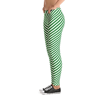 Candy Cane Christmas Leggings - Adult