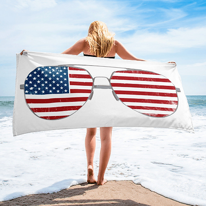 American Flag Aviators Beach Towel