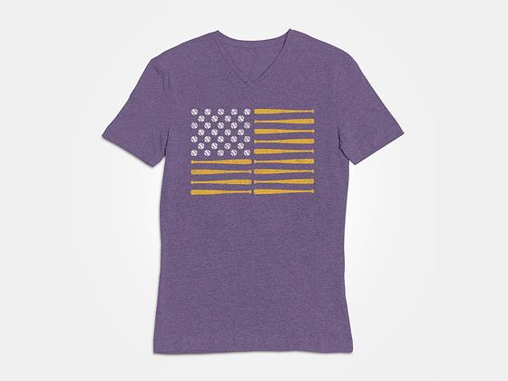 LSU Baseball - American Flag Tee