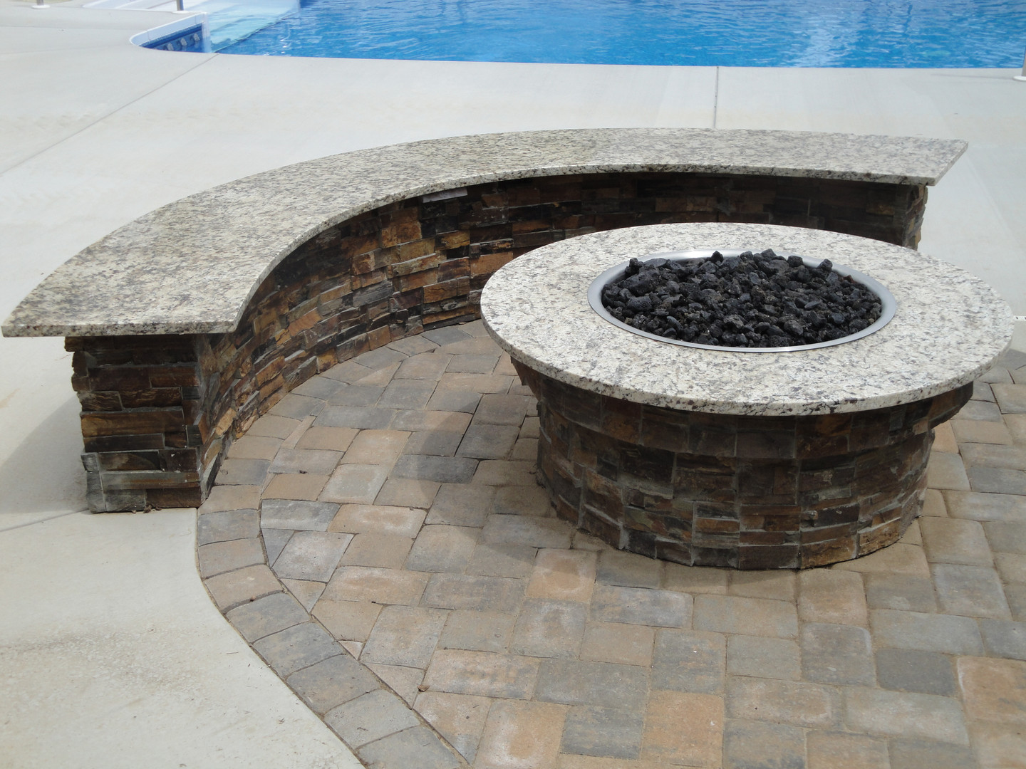 Custom seating wall with fire pit