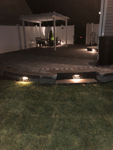Raised Paver patio with LED lights