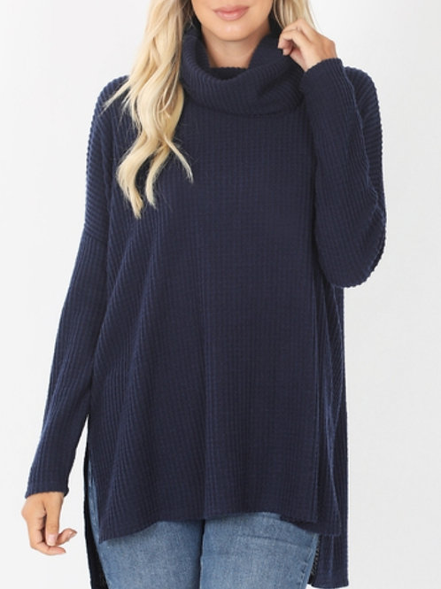 Navy Waffle Knit Cowl Neck Sweater