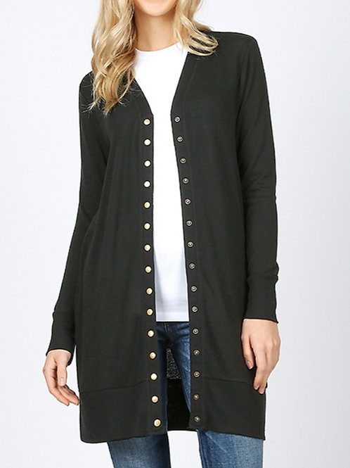 Thigh Length Snap Button Cardigan
