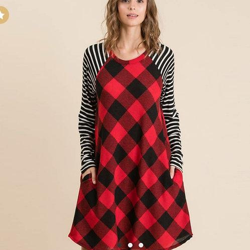Buffalo and striped dress