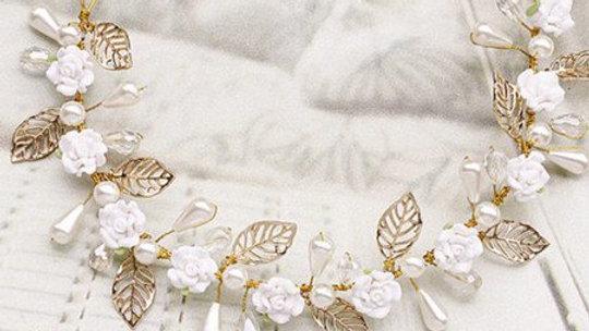 Headband de Rosas em Porcelana Fria - Ajustável