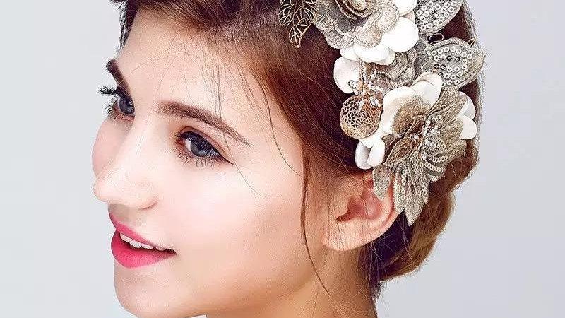 Acessório Vintage de Noiva com rosas em fios de ouro