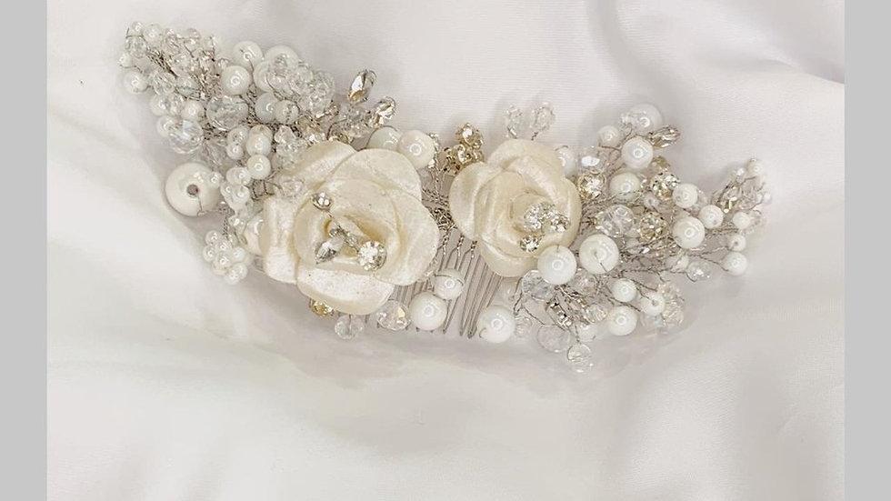 Headband Arranjo com Flores em Porcelana Fria - Margareth
