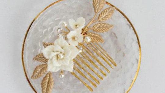Pente Folha de Ouro para noivas com strass
