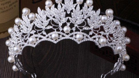 Tiara Coroa de Noivas com strass e pérolas - Shine
