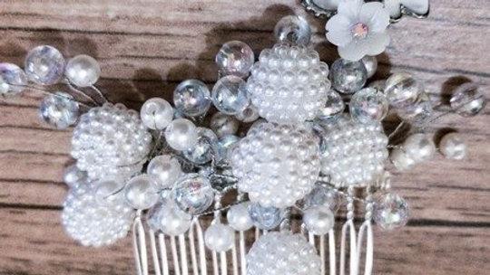 Pente de Noiva - pérolas shell e drops