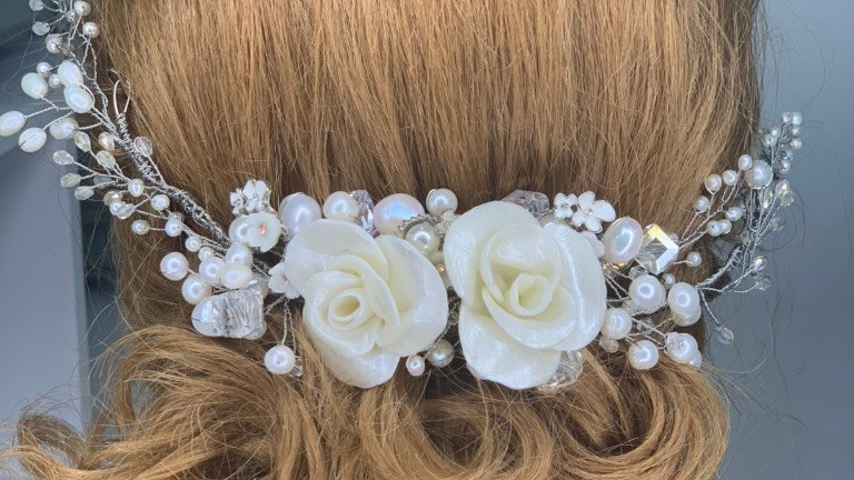 Tiara para noivas com perólas naturais - Happiness