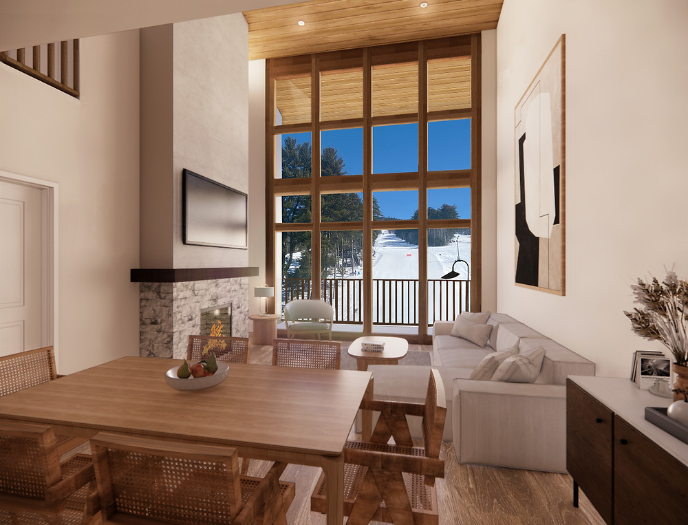Each two-level Fairbank Lodge residence will include cathedral ceilings with floor-to-ceiling living room windows and views of Cranmore's North Slope or front courtyard.