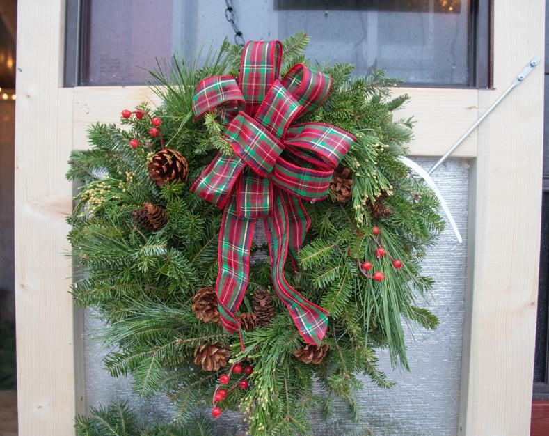christmas wreath  plaid ribbon pine cone