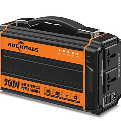 Rockpals 250-Watt Portable Generator Rechargeable Lithium Battery Pack Solar Gen