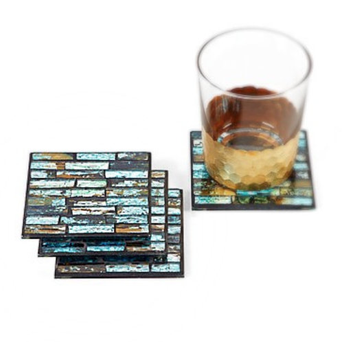 Santorini Glass Coasters